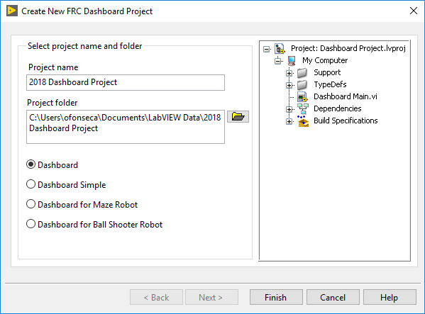 LabVIEW Screenshot showing the new project window