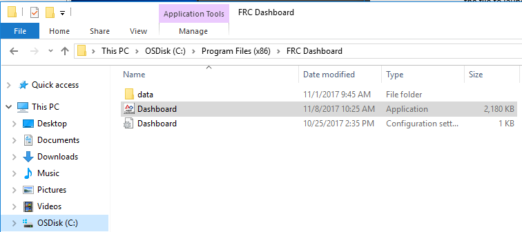 Location of the Dashboard executable in the hard drive
