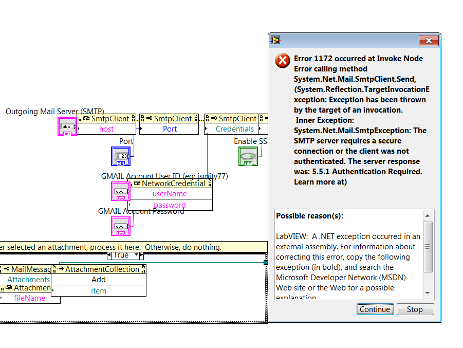 send email on labview using the gmail server tls discussion rh forums ni com