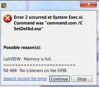 Memory Full Error