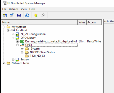 Connecting to NI OPC server gives