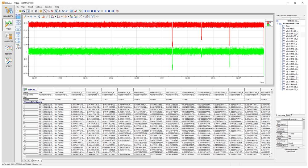Figure 6 - DIAdem data review (Simulated Data)