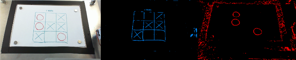The hue channel of the images, thresholded to only show the blue board/crosses and red 'O' symbols