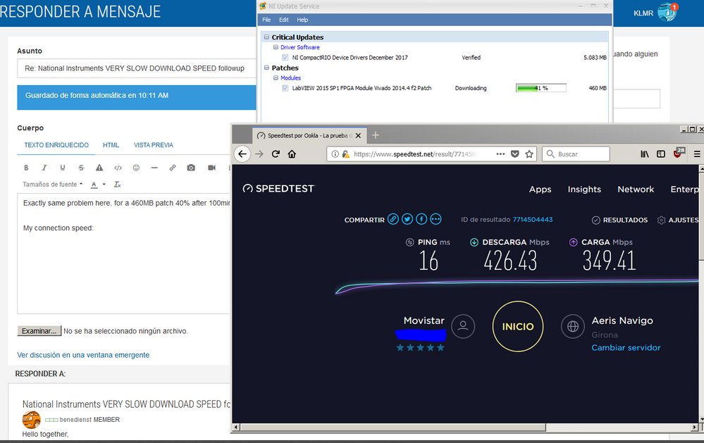 National Instruments VERY SLOW DOWNLOAD SPEED followup - NI