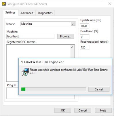 Configuration of Run-Time Engine 7.1.1 Hangs