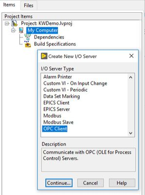 Selecting OPC Client