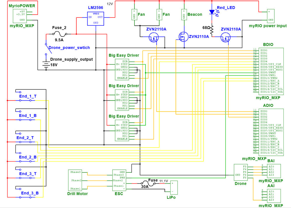 Schematic of the circuit made in NI MultiSim 14.1
