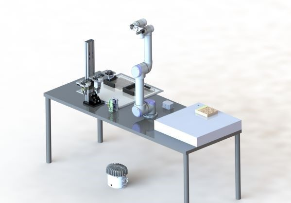Figure 5. 3 CAD Model of the robotic setup. Excluding wires and pneumatic cables