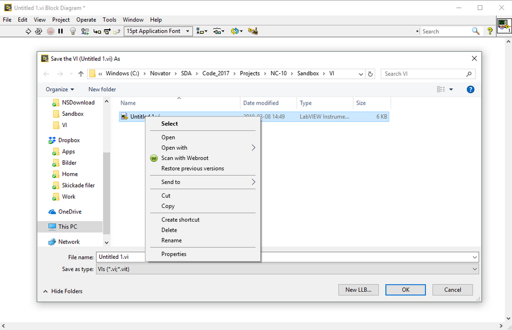 Solved: LabVIEW save window not showing SVN drop-down menus - NI
