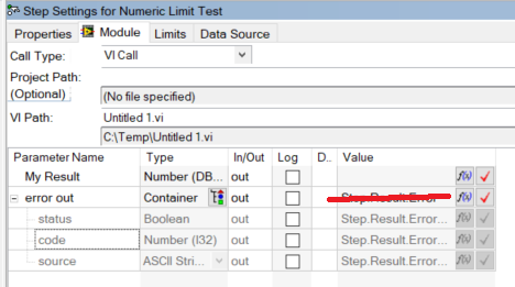 How to setup a labview-vi to create a numeric result using error