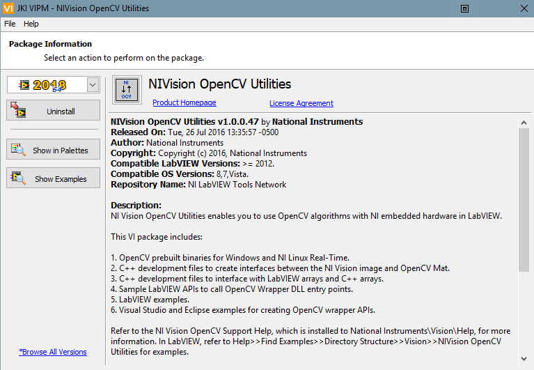 NI Vision OpenCV Utilities DO NOT Support Windows10+