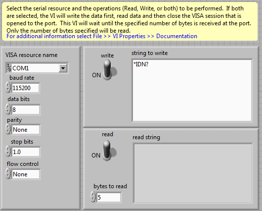 Sending Ascii commands through RS-232 (NIOPS-4) - NI