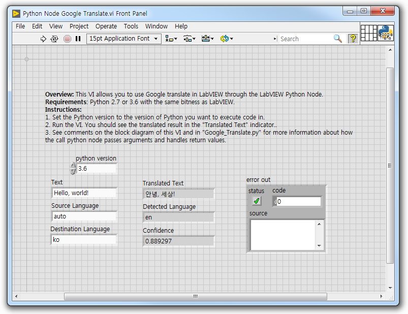 Google Translate in LabVIEW Using the LabVIEW Python Node