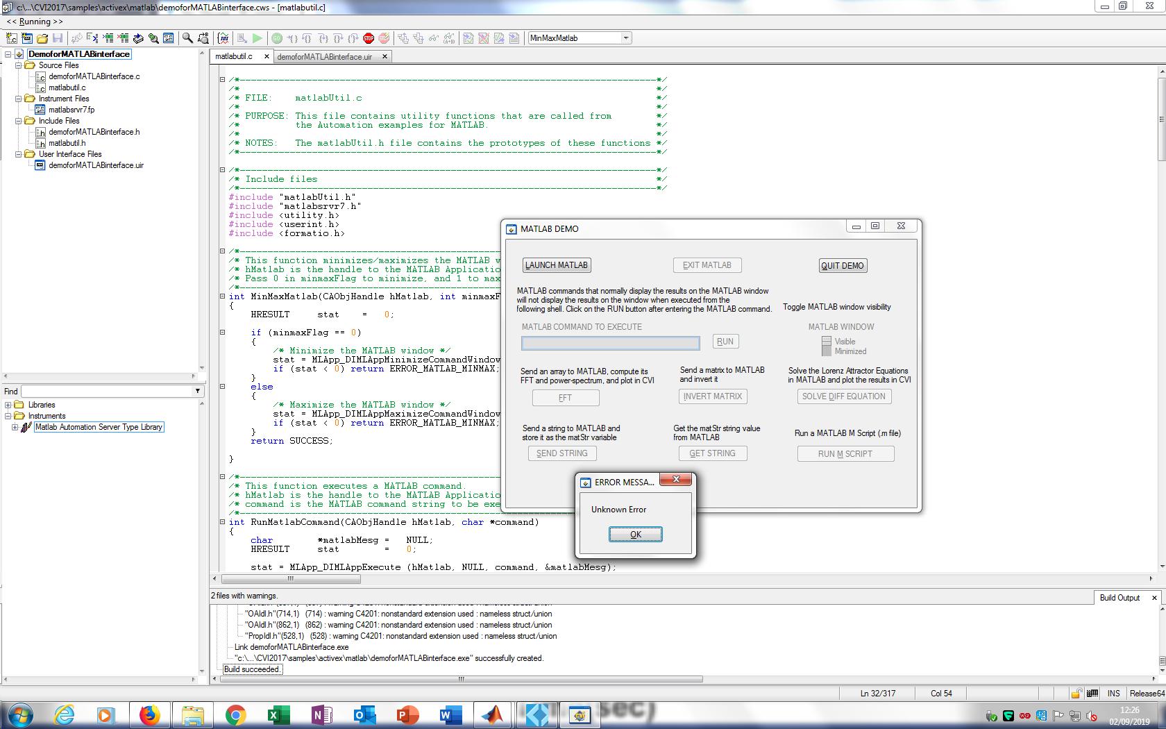 Running Matlab from LabWindows CVI using current versions