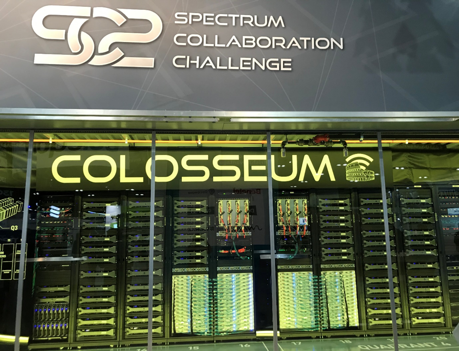 DARPA's Colosseum MCHEM, with 128 USRP SDRs, was transported coast-to-coast to LA for the SC2 grand finale.