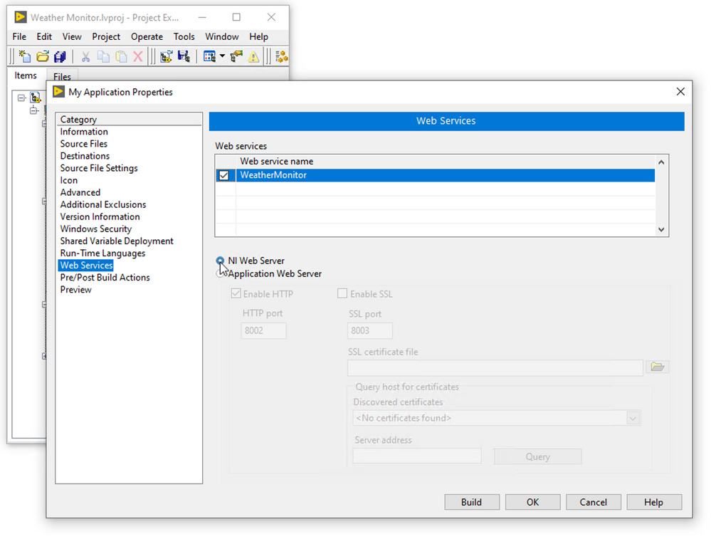 Deploy to the NI Web Server in LabVIEW 2020.