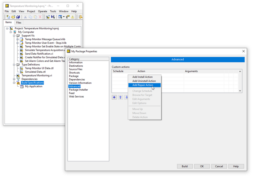 Configure a custom repair action to execute before or after NIPM makes a repair.