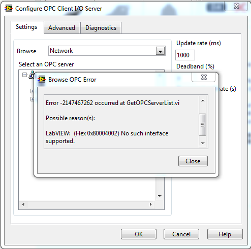 Solved: Labview 2010 - Can't browse OPC servers on remote PC