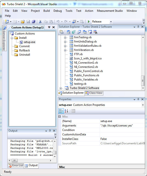 command line arguments for deployment with visual studio installer
