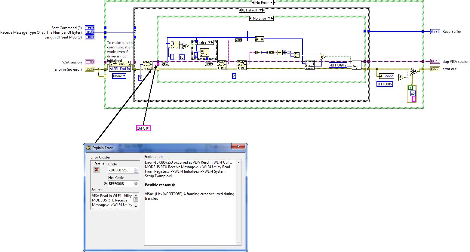 WLF4 Utility MODBUS RTU Receive Message