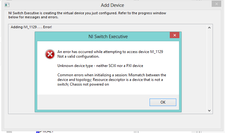 Switch Executive With Scxi An Error Occurred While Attempting To Access Device Ni Community National Instruments